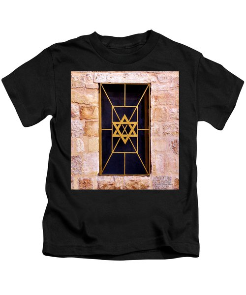 Jerusalem Window On Mt. Zion Israel Kids T-Shirt