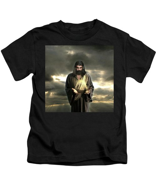 Jesus In The Clouds With Radiant Power Kids T-Shirt