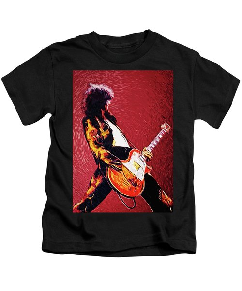 Jimmy Page  Kids T-Shirt by Taylan Apukovska