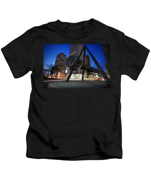 Joe Louis Fist Statue Jefferson And Woodward Ave. Detroit Michigan Kids T-Shirt