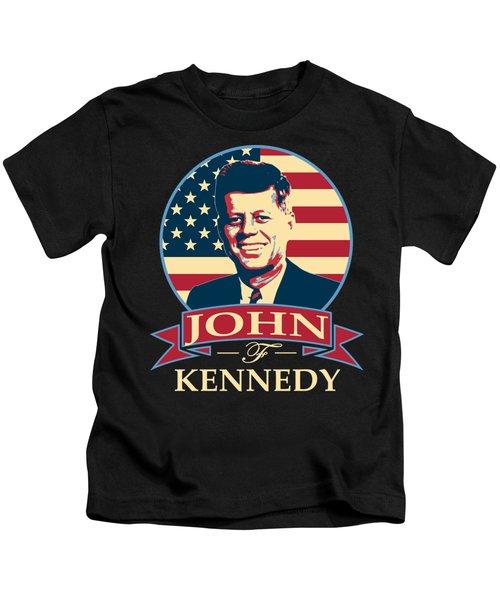 John F Kennedy American Banner Pop Art Kids T-Shirt