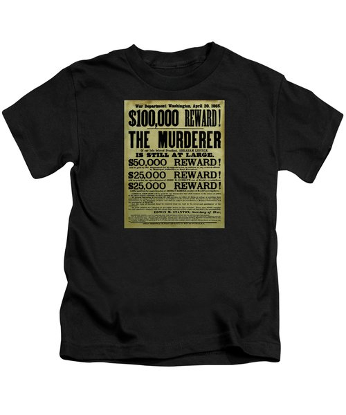John Wilkes Booth Wanted Poster Kids T-Shirt