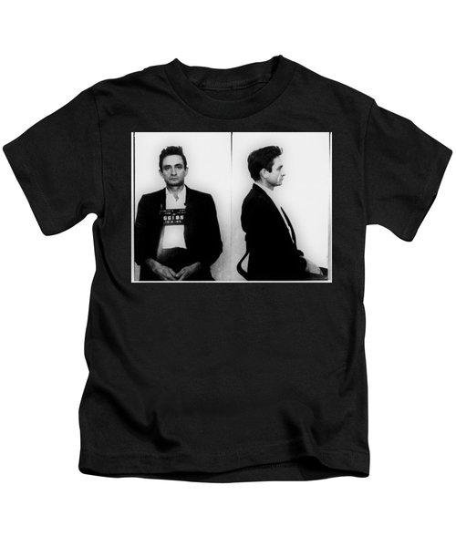 Johnny Cash Mug Shot Horizontal Kids T-Shirt
