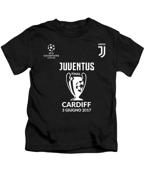 Juventus Final Champions League Cardiff 2017 Kids T-Shirt by Ipoy Juki