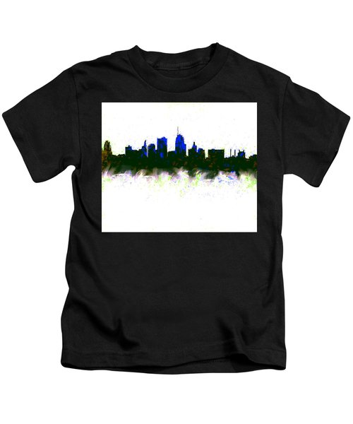 Kansas City Skyline Blue  Kids T-Shirt by Enki Art
