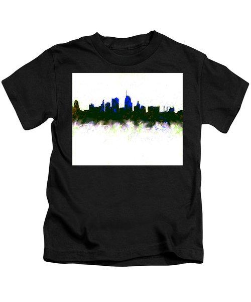 Kansas City Skyline Blue  Kids T-Shirt