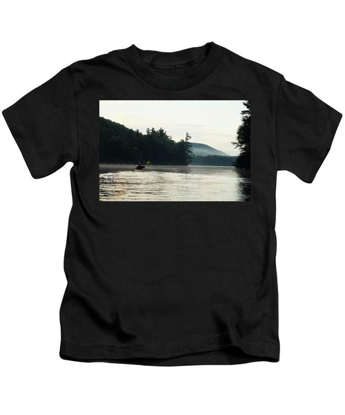 Kayak In The Fog Kids T-Shirt