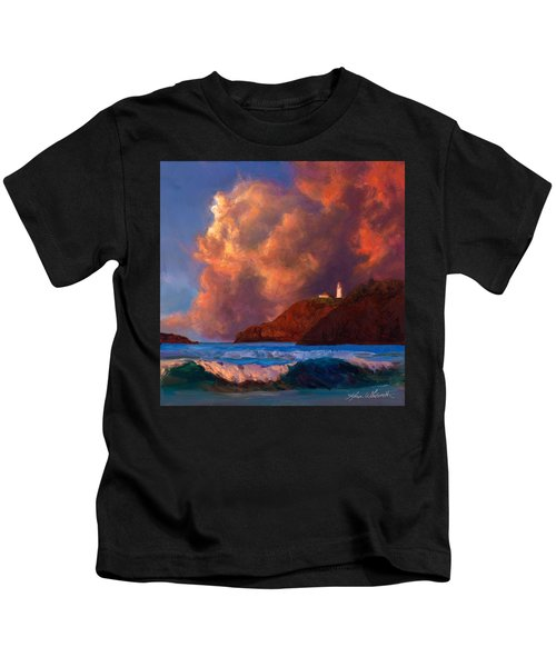 Kilauea Lighthouse - Hawaiian Cliffs Sunset Seascape And Clouds Kids T-Shirt