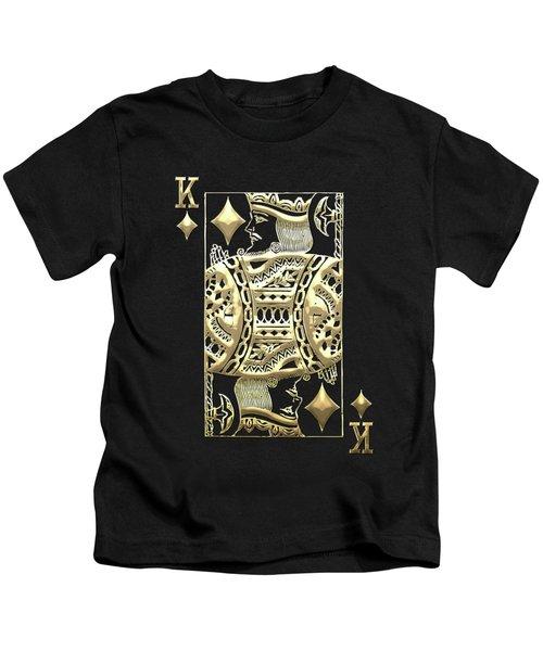 King Of Diamonds In Gold On Black  Kids T-Shirt