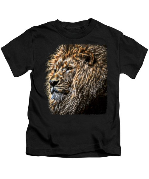 King Of The Jungle - Fractal Male Lion Kids T-Shirt