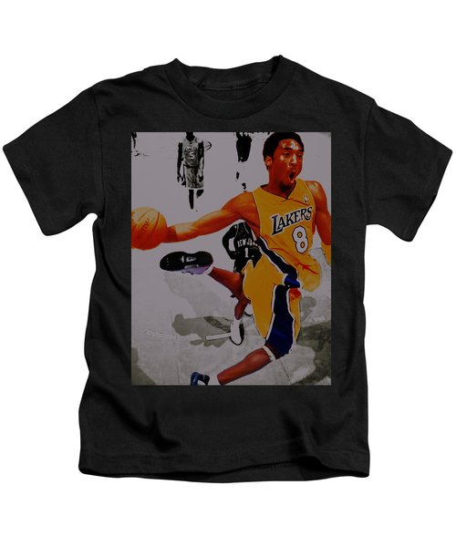 Kobe Bryant Taking Flight 3a Kids T-Shirt by Brian Reaves
