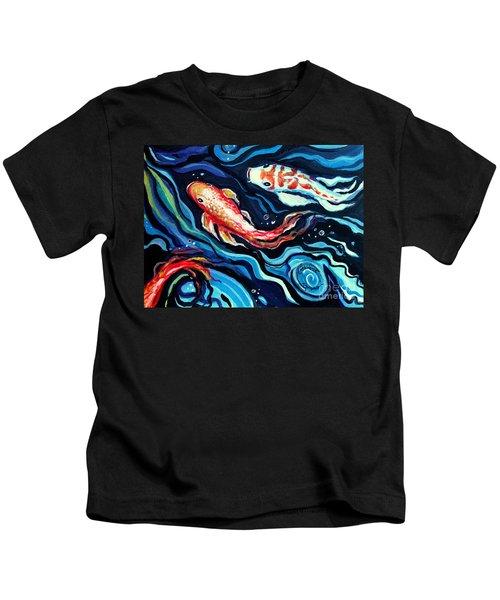 Koi Fish In Ribbons Of Water II Kids T-Shirt
