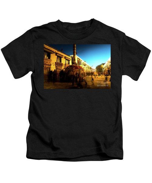 Kora At Night At Jokhang Temple Lhasa Tibet Artmif.lv Kids T-Shirt