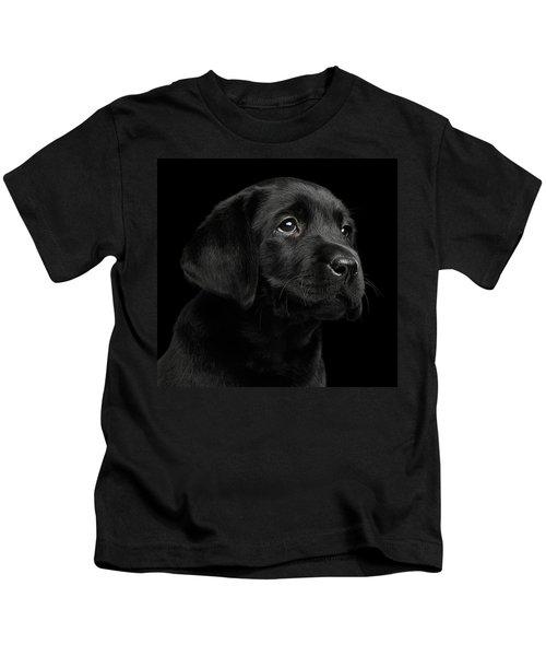 Labrador Retriever Puppy Isolated On Black Background Kids T-Shirt