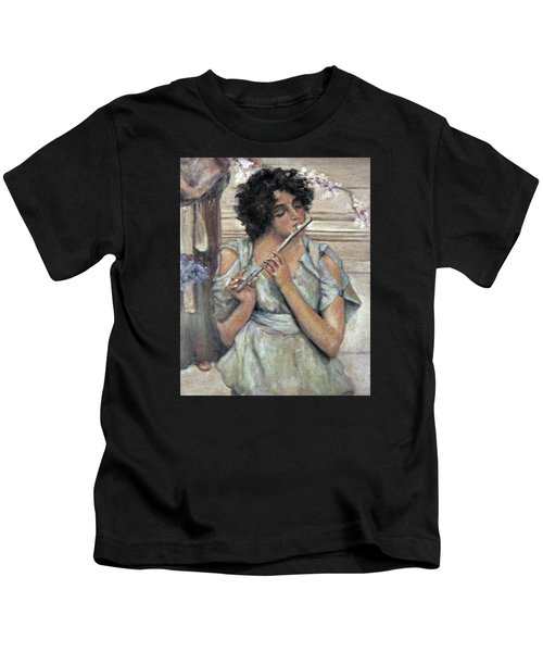 Lady Playing Flute Kids T-Shirt