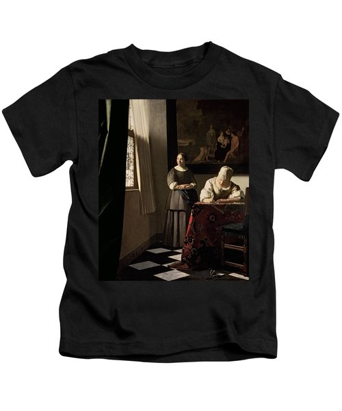 Lady Writing A Letter With Her Maid Kids T-Shirt