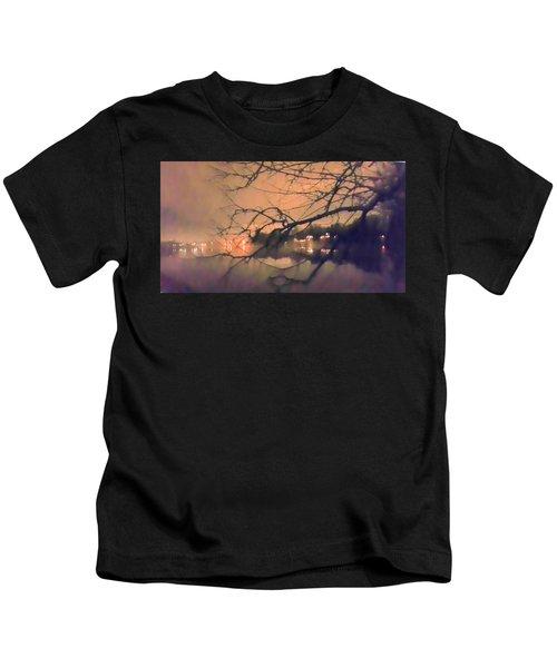 Foggy Lake At Night Through Branches Kids T-Shirt