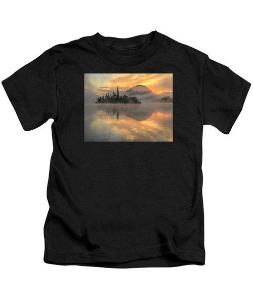 Lake Bled Sunrise Slovenia Kids T-Shirt