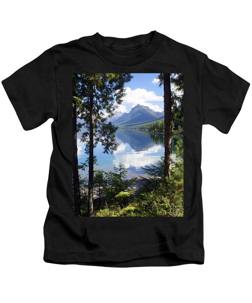Lake Mcdlonald Through The Trees Glacier National Park Kids T-Shirt
