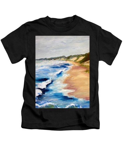 Lake Michigan Beach With Whitecaps Detail Kids T-Shirt