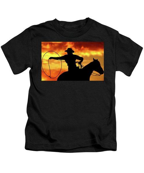 Lasso Sunset Cowboy Kids T-Shirt