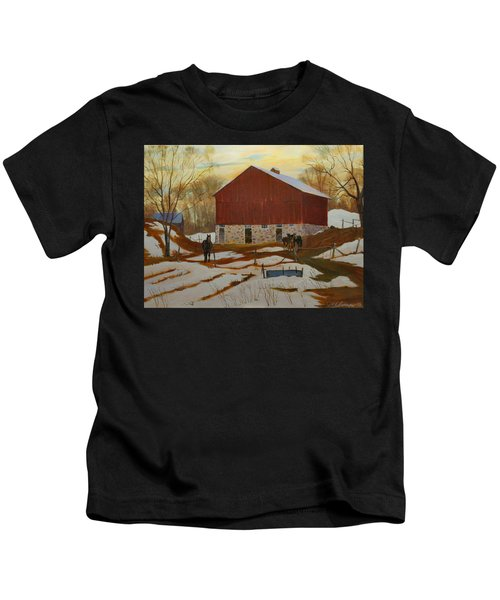 Late Winter At The Farm Kids T-Shirt