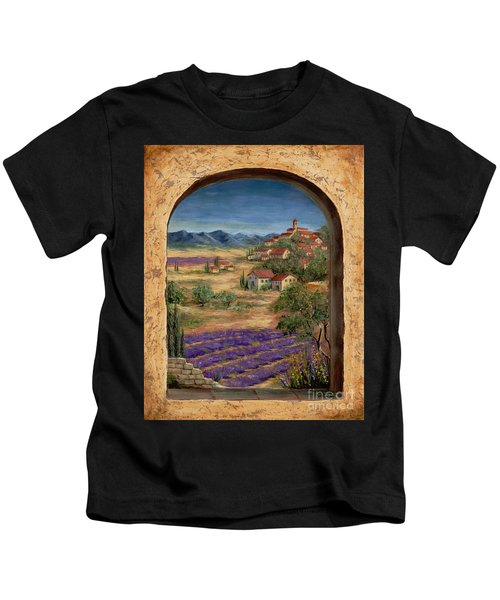 Lavender Fields And Village Of Provence Kids T-Shirt