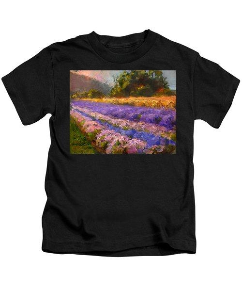 Lavender Rows - Impressionistic Landscape Plein Air Painting Kids T-Shirt