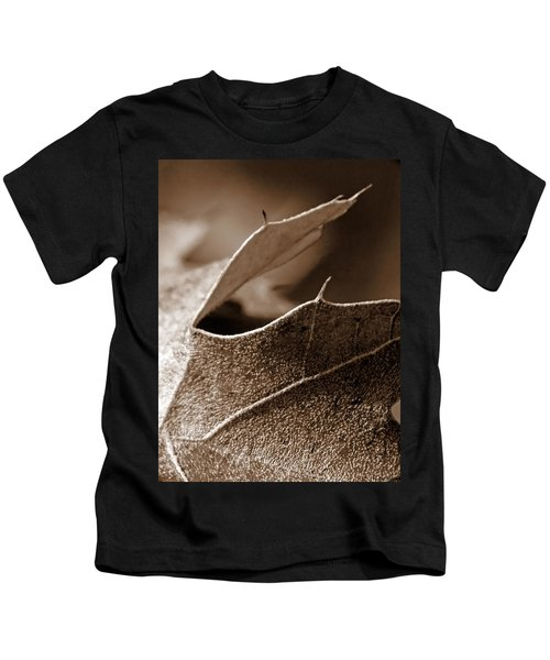 Leaf Study In Sepia II Kids T-Shirt