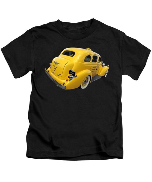 Let's Ride - Studebaker Yellow Cab Kids T-Shirt by Gill Billington