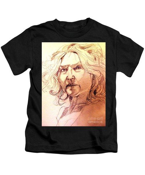 Life Drawing Sepia Portrait Sketch Medusa Kids T-Shirt