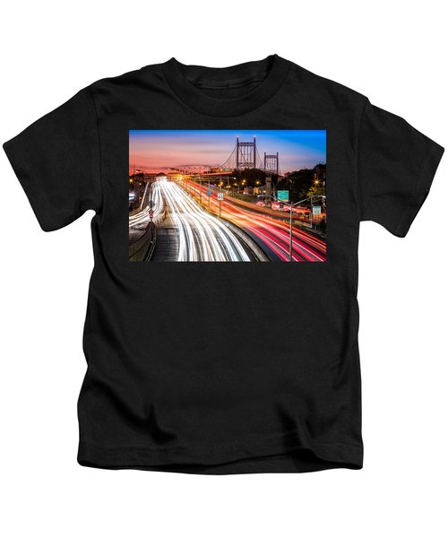 Light Trails On I-278 Near Triboro Bridge Kids T-Shirt