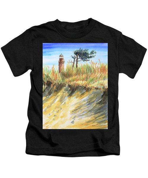Lighthouse At The Beach Kids T-Shirt