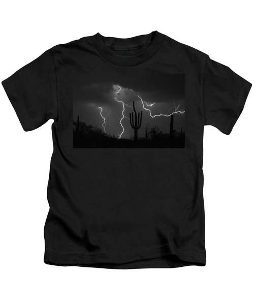 Lightning Storm Saguaro Fine Art Bw Photography Kids T-Shirt