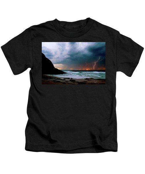 Lightning Strike Off Dana Point California Kids T-Shirt
