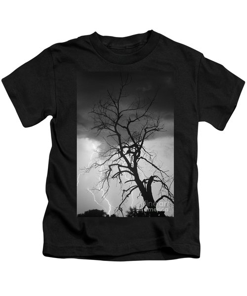 Lightning Tree Silhouette Portrait Bw Kids T-Shirt
