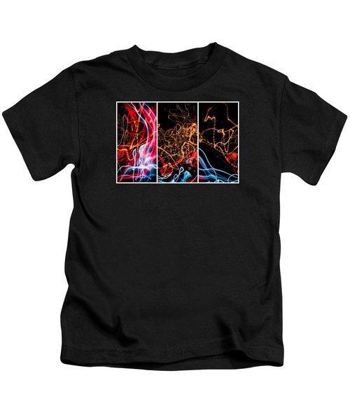 Lightpainting Triptych Wall Art Print Photograph 5 Kids T-Shirt