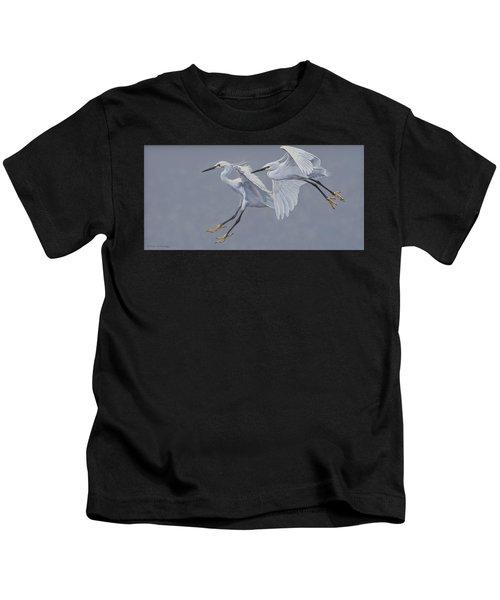Little Egrets In Flight Kids T-Shirt