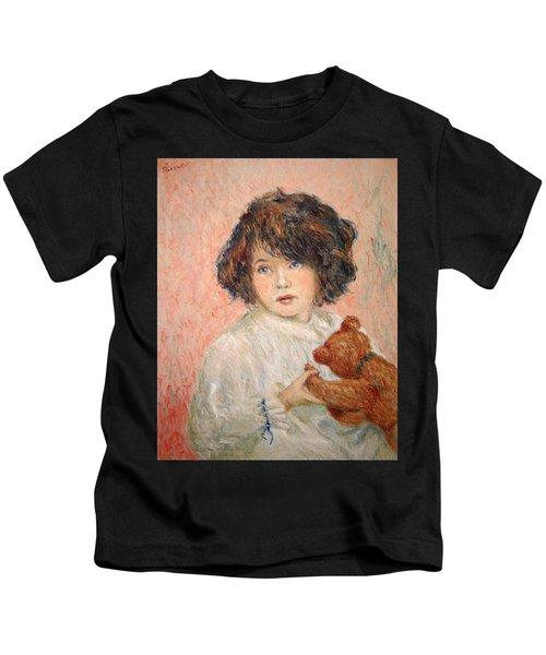 Little Girl With Bear Kids T-Shirt