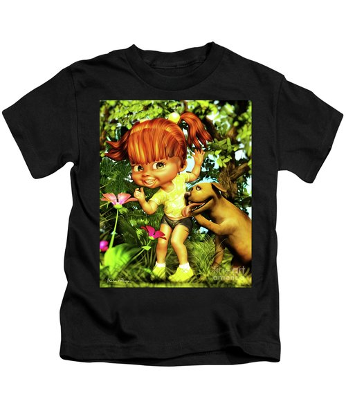 Little Redhead And Her Dog Kids T-Shirt