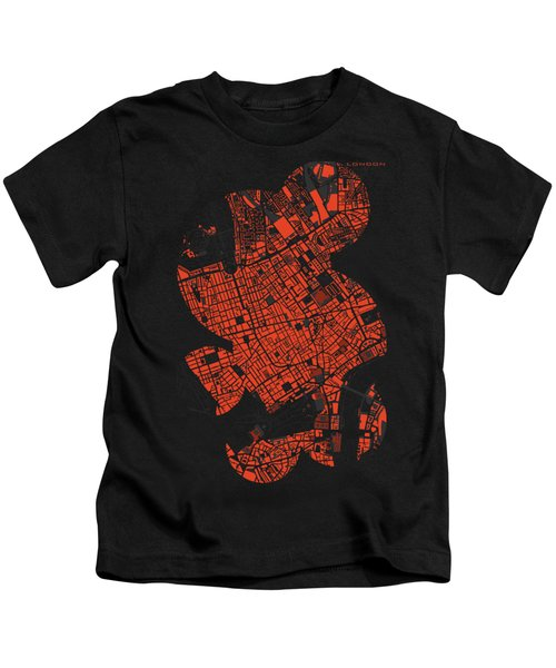 London Engraving Map Kids T-Shirt by Jasone Ayerbe- Javier R Recco