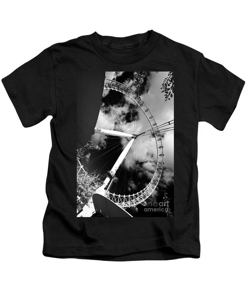 London Ferris Wheel Bw Kids T-Shirt