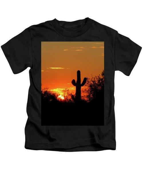 Lone Saguaro Sunrise Kids T-Shirt