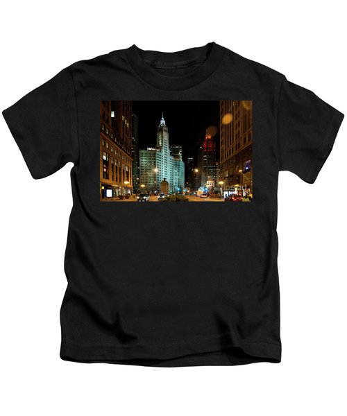 Looking North On Michigan Avenue At Wrigley Building Kids T-Shirt