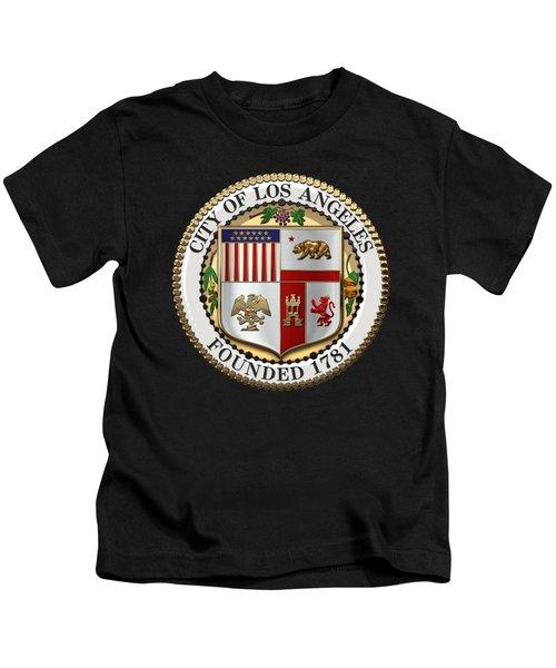 Los Angeles City Seal Over Black Velvet Kids T-Shirt
