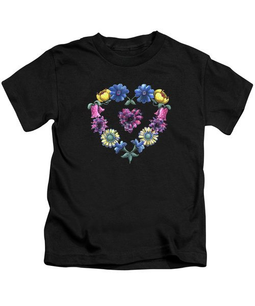 Lovely Flowers Black Kids T-Shirt