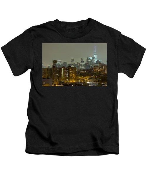 Lower Manhattan Cityscape Seen From Brooklyn Kids T-Shirt