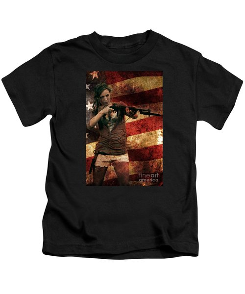 M1 Carbine On American Flag Kids T-Shirt