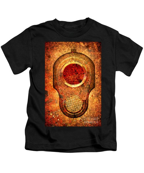 M1911 Muzzle On Rusted Background - With Red Filter Kids T-Shirt