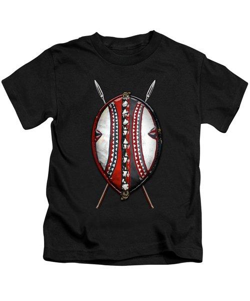 Maasai War Shield With Spears On Red Velvet  Kids T-Shirt